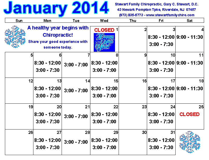 January Calendar with Stewart Family Chiropractic Office Hours